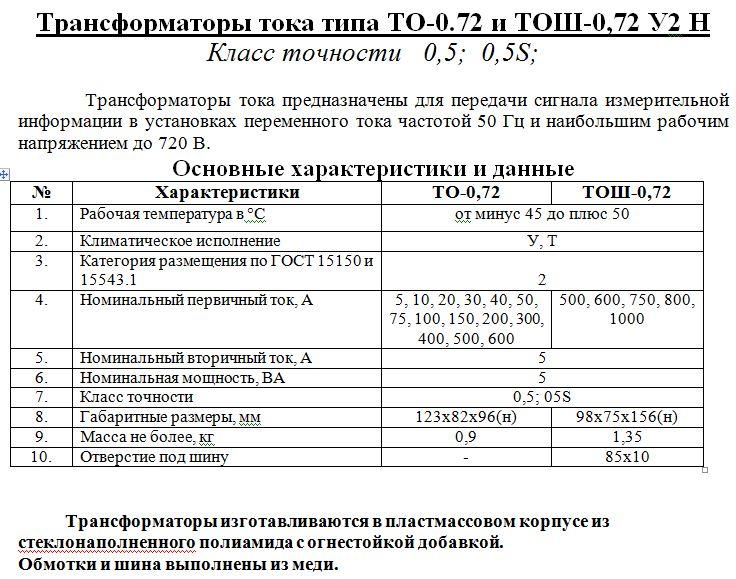 Трансформаторы тока ТО-072 и ТОШ-0,72 У2 Н