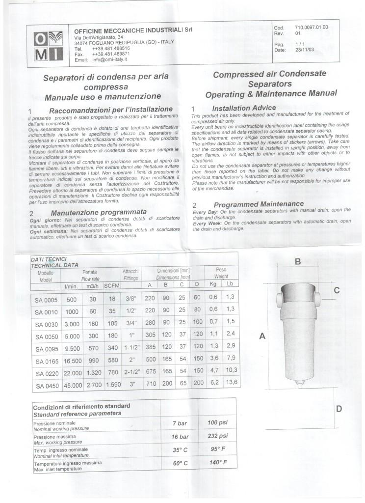 ONI Сепаратор OMI SA 0005